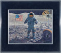 "Explorers:Space Exploration, Alan Bean Original 1993 Painting ""Cernan And His Rover,"" TexturedAcrylic on Masonite...."