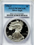 Modern Bullion Coins: , 1996-P $1 Silver Eagle PR70 Deep Cameo PCGS. PCGS Population (773).NGC Census: (616). Numismedia Wsl. Price for problem f...