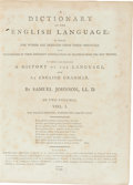 Books:Reference & Bibliography, Samuel Johnson. Dictionary of the English Language. London:1799. 8th edn. 2 quarto vols. Diced calf, recased, spine... (Total:2 Items)