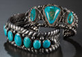 American Indian Art:Jewelry and Silverwork, TWO NAVAJO SILVER AND TURQUOISE BRACELETS... (Total: 2 )