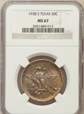 Commemorative Silver: , 1938-S 50C Texas MS67 NGC. NGC Census: (79/7). PCGS Population(58/1). Mintage: 3,814. Numismedia Wsl. Price for problem fr...