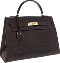 Luxury Accessories:Bags, Hermes 32cm Shiny Marron Fonce Crocodile Sellier Kelly Bag with Gold Hardware. ...