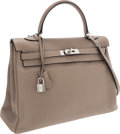 Luxury Accessories:Bags, Hermes 35cm Gris Tourterelle Clemence Leather Retourne Kelly Bagwith Palladium Hardware. ...