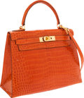 Luxury Accessories:Bags, Hermes 28cm Shiny Orange H Porosus Crocodile Sellier Kelly Bag withGold Hardware. ...