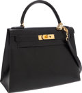 Luxury Accessories:Bags, Hermes 28cm Black Calf Box Leather Sellier Kelly Bag with GoldHardware. ...