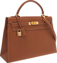 Hermes 32cm Gold Epsom Leather Sellier Kelly Bag with Shooting Star & Gold Hardware