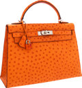 Luxury Accessories:Bags, Hermes 32cm Tangerine Ostrich Sellier Kelly Bag with Palladium Hardware. ...