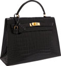 Luxury Accessories:Bags, Hermes 32cm Shiny Black Caiman Crocodile Sellier Kelly Bag withGold Hardware. ...