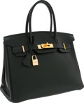 Luxury Accessories:Bags, Hermes 30cm Vert Fonce Gulliver Leather Birkin Bag with Gold Hardware. ...