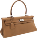 Luxury Accessories:Bags, Hermes 42cm Tabac Camel Clemence Leather Shoulder Kelly Bag withPalladium Hardware. ...