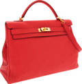 Luxury Accessories:Bags, Hermes 40cm Bougainvillea Clemence Leather Retourne Kelly Bag withGold Hardware. ...