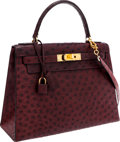 Luxury Accessories:Bags, Hermes 28cm Bordeaux Ostrich Sellier Kelly Bag with Gold Hardware. ...