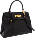 Luxury Accessories:Bags, Hermes 28cm Shiny Black Crocodile Sellier Kelly Bag with Gold Hardware. ...