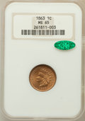 Indian Cents: , 1863 1C MS65 NGC. CAC. NGC Census: (204/20). PCGS Population(206/38). Mintage: 49,840,000. Numismedia Wsl. Price for probl...