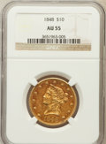 Liberty Eagles: , 1848 $10 AU55 NGC. NGC Census: (68/77). PCGS Population (17/19).Mintage: 145,484. Numismedia Wsl. Price for problem free N...