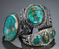 American Indian Art:Jewelry and Silverwork, THREE NAVAJO SILVER AND TURQUOISE BRACELETS. c. 1930... (Total: 3 )