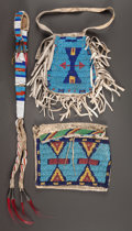 American Indian Art:Beadwork and Quillwork, A SIOUX BEADED HIDE AWL CASE AND TWO POUCHES. c. 1890... (Total: 3Items)