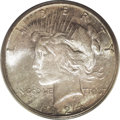 Peace Dollars: , 1924-S $1 MS65 PCGS. Beautifully toned in streaks of iridescentgold, lavender, and teal. A s...