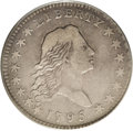Early Half Dollars: , 1795 50C 2 Leaves VF25 PCGS. O-103, R.5. The lowest curl isequidistant from four star points. Recutting shows on the left ...