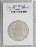 Early Half Dollars: , 1801 50C --Cleaned--ANACS. VF20 Details. O-101, R.3. A thin scratchis found beneath the hair ribbon toward the rim, and the...