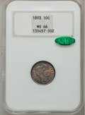 Barber Dimes, 1893 10C MS66 NGC. CAC....