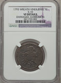 Large Cents, 1793 1C Wreath Cent, Vine and Bars -- Damaged, Corrosion -- NGCDetails. VF. S-10, B-10, R.4....