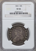 Bust Half Dollars: , 1825 50C VF35 NGC. NGC Census: (29/939). PCGS Population (67/1077).Mintage: 2,900,000. Numismedia Wsl. Price for problem f...