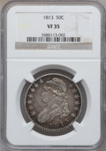 Bust Half Dollars: , 1813 50C VF35 NGC. NGC Census: (17/654). PCGS Population (51/451).Mintage: 1,241,903. Numismedia Wsl. Price for problem fr...