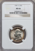 Washington Quarters: , 1941-S 25C MS66 NGC. NGC Census: (379/81). PCGS Population(333/37). Mintage: 16,080,000. Numismedia Wsl. Price for problem...