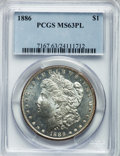 Morgan Dollars: , 1886 $1 MS63 Prooflike PCGS. PCGS Population (270/384). NGC Census:(322/422). Numismedia Wsl. Price for problem free NGC/...