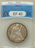 Seated Dollars: , 1841 $1 XF40 ANACS. NGC Census: (12/174). PCGS Population (34/232).Mintage: 173,000. Numismedia Wsl. Price for problem fre...