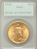 Saint-Gaudens Double Eagles: , 1928 $20 MS63 PCGS. PCGS Population (12755/24980). NGC Census:(15044/21018). Mintage: 8,816,000. Numismedia Wsl. Price for...