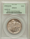 Commemorative Silver: , 1933-D 50C Oregon MS64 PCGS. PCGS Population (571/1212). NGCCensus: (237/711). Mintage: 5,008. Numismedia Wsl. Price for p...