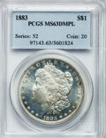 Morgan Dollars: , 1883 $1 MS63 Deep Mirror Prooflike PCGS. PCGS Population (231/336). NGC Census: (95/189). Numismedia Wsl. Price for proble...