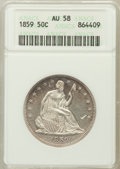 Seated Half Dollars: , 1859 50C AU58 ANACS. NGC Census: (21/62). PCGS Population (13/46).Mintage: 747,200. Numismedia Wsl. Price for problem free...