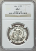 Walking Liberty Half Dollars: , 1941-D 50C MS65 NGC. NGC Census: (2123/1378). PCGS Population(3727/1680). Mintage: 11,248,400. Numismedia Wsl. Price for p...