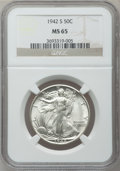 Walking Liberty Half Dollars: , 1942-S 50C MS65 NGC. NGC Census: (1129/204). PCGS Population(2261/414). Mintage: 12,708,000. Numismedia Wsl. Price for pro...