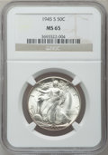 Walking Liberty Half Dollars: , 1945-S 50C MS65 NGC. NGC Census: (2787/642). PCGS Population(3581/931). Mintage: 10,156,000. Numismedia Wsl. Price for pro...
