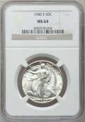 Walking Liberty Half Dollars: , 1940-S 50C MS64 NGC. NGC Census: (1387/937). PCGS Population(1800/1635). Mintage: 4,550,000. Numismedia Wsl. Price for pro...