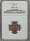 Indian Cents: , 1891 1C MS64 Red and Brown NGC. NGC Census: (174/72). PCGSPopulation (199/25). Mintage: 47,072,352. Numismedia Wsl. Price ...