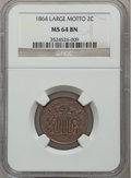 Two Cent Pieces: , 1864 2C Large Motto MS64 Brown NGC. NGC Census: (444/270). PCGSPopulation (275/53). Mintage: 19,847,500. Numismedia Wsl. P...