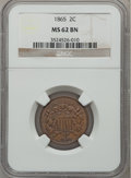 Two Cent Pieces: , 1865 2C MS62 Brown NGC. NGC Census: (133/709). PCGS Population(79/467). Mintage: 13,640,000. Numismedia Wsl. Price for pro...