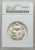 Commemorative Silver: , 1935-S 50C San Diego MS65 ANACS. NGC Census: (2577/735). PCGSPopulation (5701/1718). Mintage: 70,132. Numismedia Wsl. Pric...