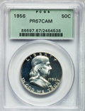 Proof Franklin Half Dollars: , 1956 50C Type Two PR67 Cameo PCGS. PCGS Population (793/653). NGCCensus: (441/512). Numismedia Wsl. Price for problem fre...