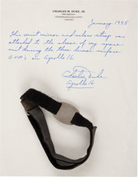 Apollo 16 Lunar Module Flown and Surface-Used Wrist Mirror with Watch Strap Originally from the Personal Collection of M...