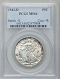 Walking Liberty Half Dollars: , 1942-D 50C MS66 PCGS. PCGS Population (1116/134). NGC Census:(866/141). Mintage: 10,973,800. Numismedia Wsl. Price for pro...