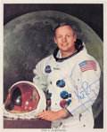 Autographs:Celebrities, Neil Armstrong Signed White Spacesuit Color Photo, with PSA/DNALOA....