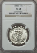 Walking Liberty Half Dollars, (3)1942-D 50C MS64 NGC. ... (Total: 3 coins)