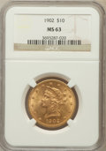 Liberty Eagles: , 1902 $10 MS63 NGC. NGC Census: (75/27). PCGS Population (100/21).Mintage: 82,400. Numismedia Wsl. Price for problem free N...