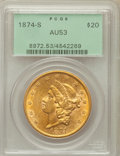 Liberty Double Eagles: , 1874-S $20 AU53 PCGS. PCGS Population (117/945). NGC Census:(172/2249). Mintage: 1,214,000. Numismedia Wsl. Price for prob...